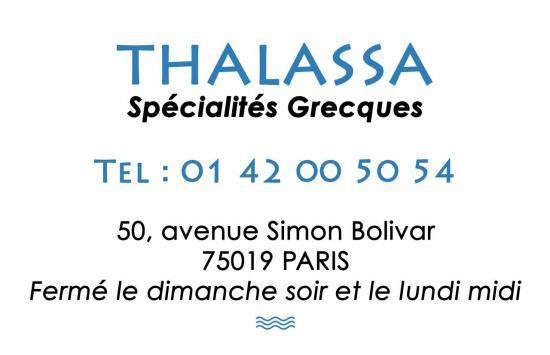 Carte de visite pour le restaurant grec Thalassa