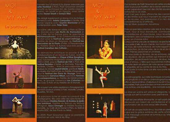 Inside flyer pour Pazit Grossman chorégraphe et danseuse