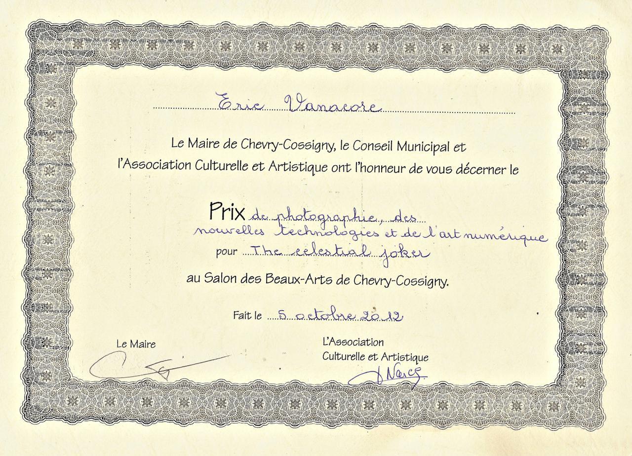 2012, 1er prix, Eposition 17ème Salon des Beaux-Arts, Chevry-Cossigny.